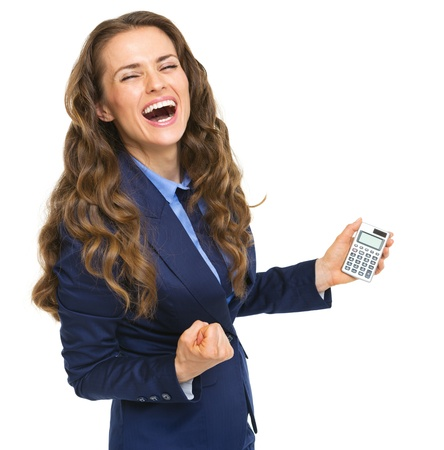 rejoicing: Happy business woman with calculator rejoicing
