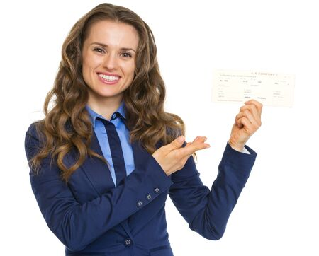 airline hostess: Smiling business woman pointing on air tickets