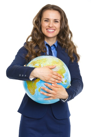 Smiling business woman hugging earth globe Stock Photo - 21250515
