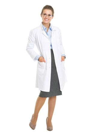 Full length portrait of woman ophthalmologist doctor wearing glasses Stock Photo - 21250585