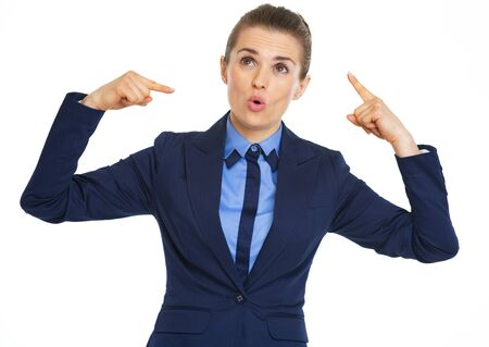 Business woman showing crazy gesture photo