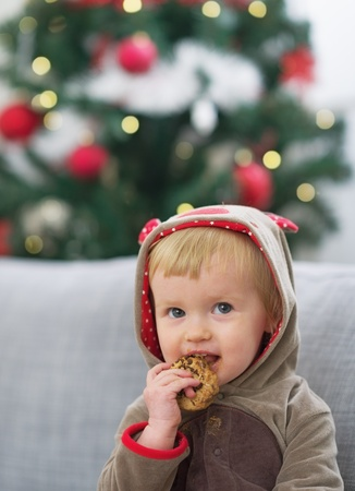Portrait of happy baby in christmas costume eating cookie Stock Photo - 21353201