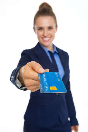 Closeup on credit card in hand of smiling business woman Stock Photo - 21353307
