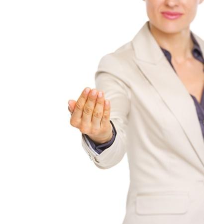 se�al de silencio: Primer en mujer de negocios haciendo se�as