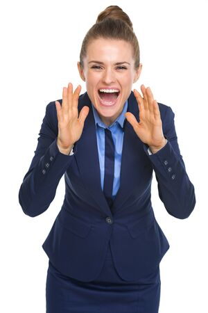 Happy business woman shouting through megaphone shaped hands Stock Photo - 21353688