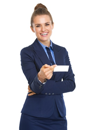 Portrait of smiling business woman giving business card