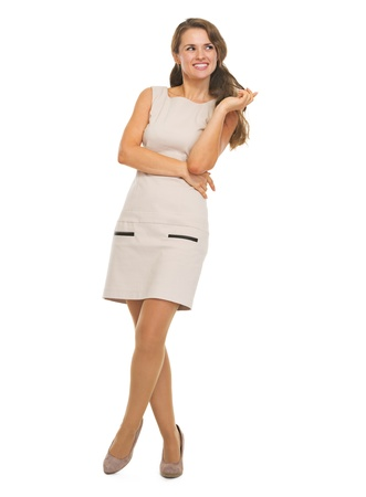 Full length portrait of happy young woman looking on copy space Stock Photo - 21355013
