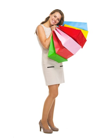 Full length portrait of happy young woman with shopping bags Stock Photo - 21354926