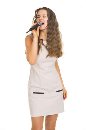 Portrait of singing young woman Stock Photo - 21359626