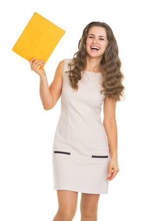 Happy young woman showing letter Stock Photo - 21359632