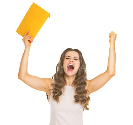 Happy young woman with letter rejoicing Stock Photo - 21359633