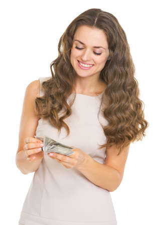 Happy young woman counting money Stock Photo - 21359659