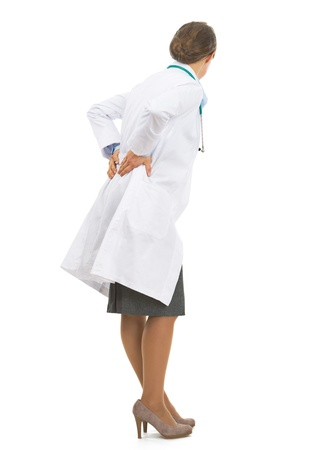 Full length portrait of doctor woman with back pain Stock Photo - 21567984
