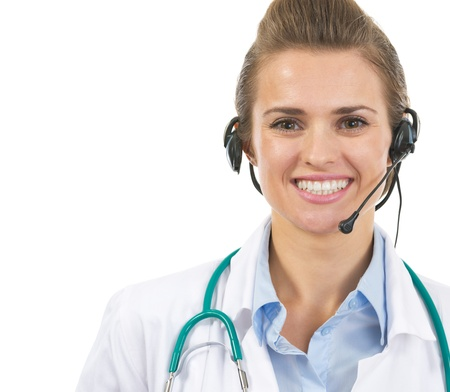 Portrait of smiling doctor woman in headset Stock Photo - 21567995