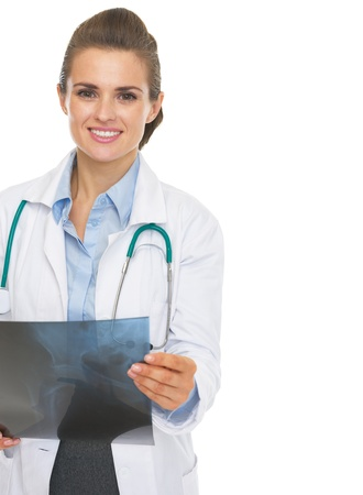 Happy doctor woman checking fluorography Stock Photo - 21568239