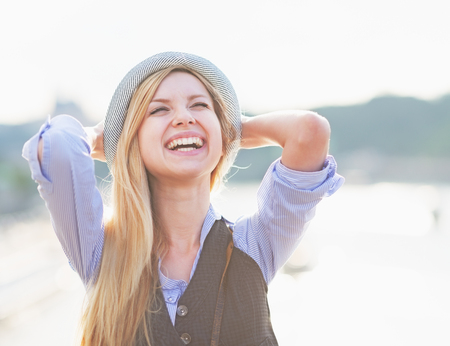 rejoicing: Portrait of happy hipster girl rejoicing in the city Stock Photo