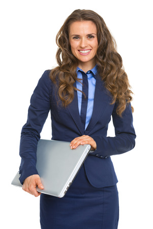 topicality: Portrait of smiling business woman with laptop