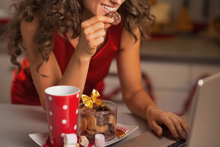 Closeup on happy woman having christmas snacks and usign laptop Stock Photo - 22887887