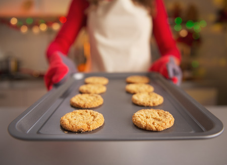 Closeup on pan with christmas cookies in hand of housewife Stock Photo - 23533220