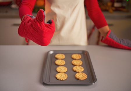 Closeup on young housewife in kitchen gloves showing thumbs up and christmas cookies on pan Stock Photo - 23533296