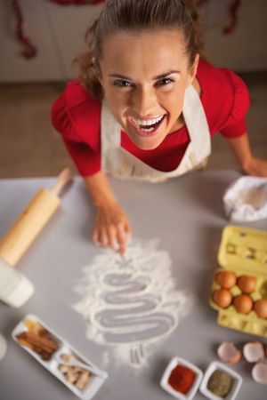 Smiling young housewife drawing christmas tree on kitchen table with flour Stock Photo - 23533300