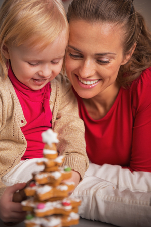 Portrait of happy mother and baby looking on cookie christmas tree Stock Photo - 23533501