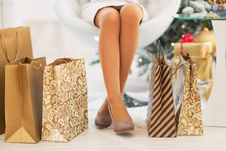 Closeup on shopping bags near woman legs in front of christmas tree Stock Photo - 23728558