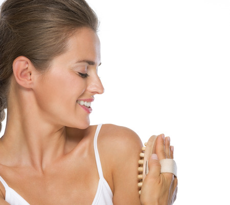 massager: Closeup on young woman using massager