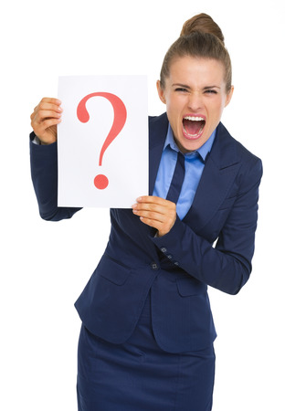 Frustrated business woman showing paper sheet with question mark photo