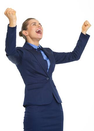 Business woman rejoicing success
