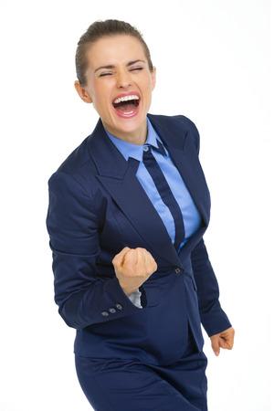 fist pump: Happy business woman showing fist pump gesture