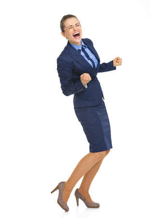 Full length portrait of business woman showing thumbs up photo