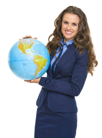 Happy business woman with earth globe photo