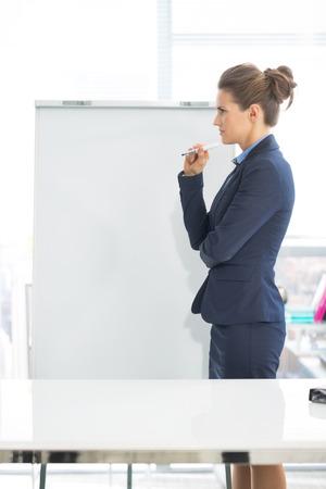 Thoughtful business woman standing near flipchart