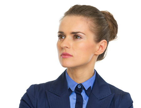 certitude: Confident business woman looking on copy space
