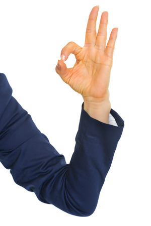 Closeup on business woman showing ok gesture Stock Photo - 28062687