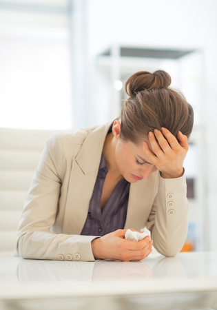 Ill business woman in office Stock Photo - 28131483