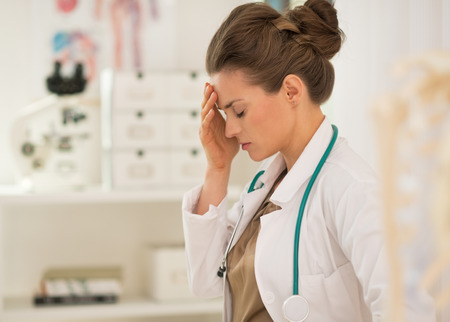 Portrait of frustrated medical doctor woman Stock Photo