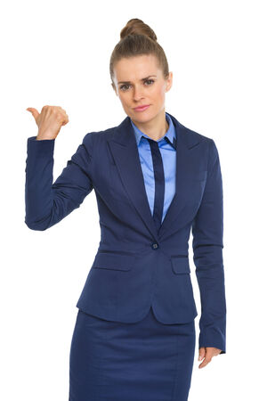 get out: Business woman showing get out gesture Stock Photo