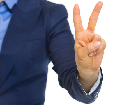 Closeup on business woman showing 2 fingers Stock Photo - 30109408