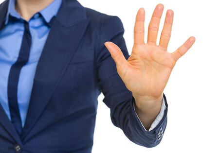 Closeup on business woman showing 5 fingers Stock Photo - 30109493
