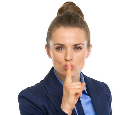 Portrait of business woman showing shh gesture Stock Photo - 30109510