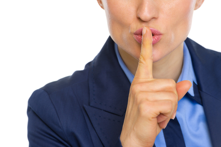 Closeup on business woman showing shh gesture Stock Photo - 30602154