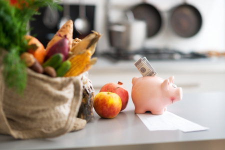 healthy economy: Closeup on money in piggy bank and purchases from local market on table