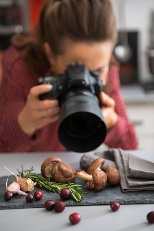 substrate: Closeup on female food photographer taking photo Stock Photo