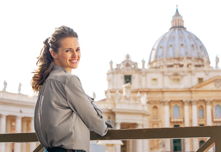 pietro: Portrait of young woman on piazza san pietro in vatican city state