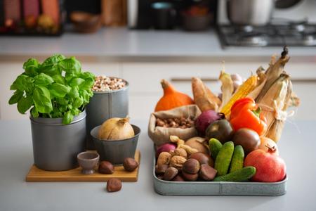 Closeup on fresh vegetables on table