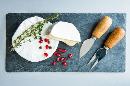 substrate: Closeup on camembert on stone substrate Stock Photo