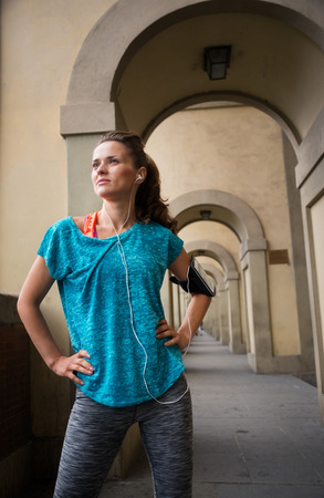 distance: Portrait of fitness woman looking into distance Stock Photo