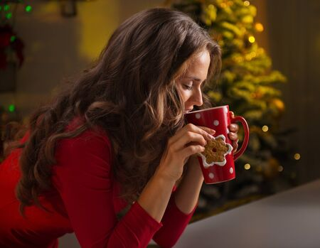 christmas tree  decorations: Christmas cookies are wonderful way to enjoy the spirit of the season. Happy young woman having a cup of hot chocolate with marshmallows and cookie in the front of Christmas tree Stock Photo